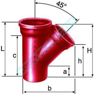 Culotte simple SME à 45 en fonte diamètre nominal 100-100mm PAM