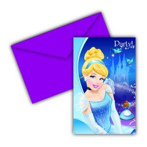 6 cartes invitation en carton Cendrillon avec enveloppes