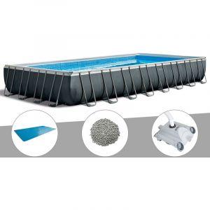 Intex Kit piscine tubulaire Ultra XTR Frame rectangulaire 9,75 x 4,88 x 1,32 m + Bâche à bulles + 20 kg de zéolite + Robot nettoyeur