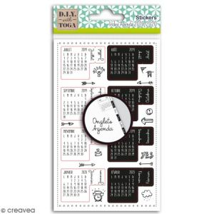 Toga Stickers Onglets avec agenda 2019-2020 - noirs et blancs - 18 pcs