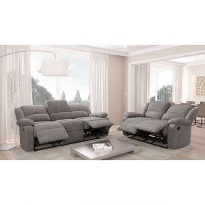 RELAX Set de canapés microfibre gris 3 + 2 places - Ensemble composé de 2 canapés : un canapé 3 places + un canapé 2 places à fonction relaxation sur 4 places - Matières : microfibre, bois, mousse et métal - Revêtement 0.9-1 mm - Assise en mousse 32kg/m3,