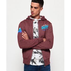 Superdry Sweat-shirt Homme Sweat à capuche zippé Premium Goods Fade, Rouge rouge - Taille EU M
