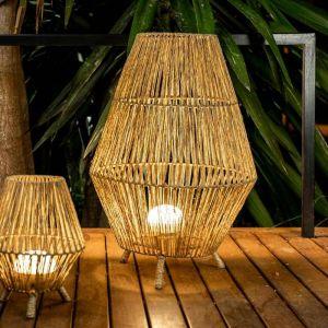 New Garden Lampe à poser extérieur SISINE-Lampadaire Extérieur avec Câble en Jute & Télécommande Ø48cm H70cm Beige