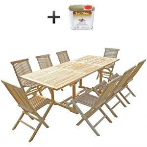 C&L Jardin Amara - Ensemble salon de jardin en teck 8 chaises + huile
