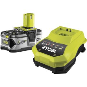 Ryobi One+ RBC18L40 - Batterie lithium 18V 4Ah + Chargeur