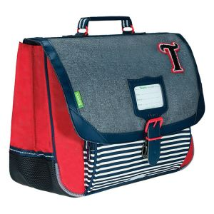 Tann's Cartable 38 cm Les Chinés Teddy Gris / Rouge