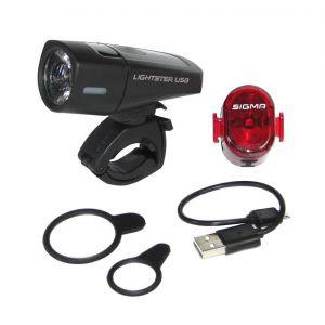 Sigma Sport Lighster USB / Nugget II Beleichtungsset - Kit éclairage vélo - noir Sets de lampes
