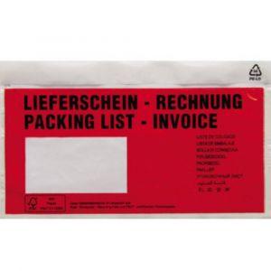 Poc tte pour doc ents DIN long rouge Liefersc in Rechnung, mehrsprachig avec autocollant 1 paquet(s)