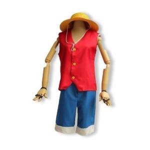 Costume Luffy One Piece avec chapeau sous housse (8-10 ans)