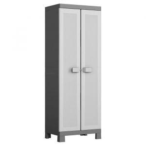 KIS Armoire de rangement haute Logico - 65 x 45 x 182 cm - Noir et gris - Dimensions : 65 x 45 x 182 cm - 4 tablettes réglables - Cadenassable - Noir et gris