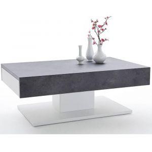 822a29c9943c20 Inside75 Table basse design CHANI effet béton 2 tiroirs blanc mat