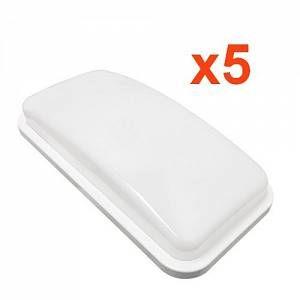 Silamp Applique LED Murale 20W Rectangulaire IP65 (Pack de 5) - couleur eclairage : Blanc Neutre 4000K - 5500K