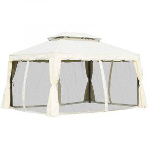 Outsunny Tonnelle Barnum pavillon de Jardin Style Colonial Double Toit Toile moustiquaires et Toiles Amovibles 3,9L x 2,9l x 2,8H m écru