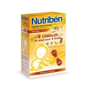 Nutribén Céréales instantanées : 8 céréales et miel 4 fruits 300g - dès 6 mois