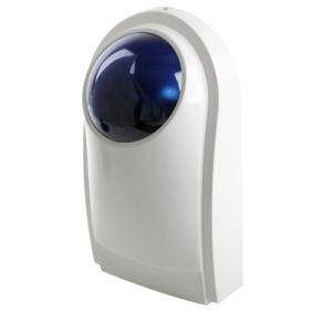 WeWoo Détecteur de mouvement infrarouge blanc Sirène filaire extérieure avec lampe de poche bleue PA-100, peut être utilisé 12V comme une batterie de secours non inclus