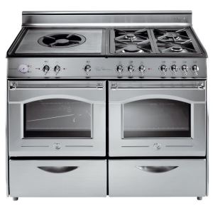 Rosières RBC 127/1 - Cuisinière 4 feux gaz, grille en fonte double et four électrique Bocuse