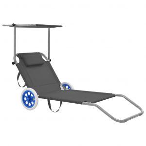 VidaXL Chaise longue pliable avec auvent et roues Acier Gris