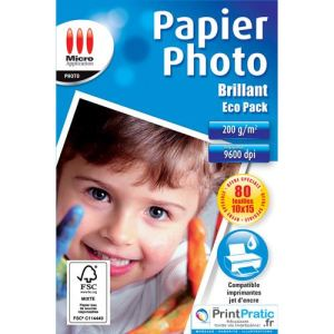 Micro application 80 feuilles de papier photo Eco Pack 200g/m² (10 x 15 cm)