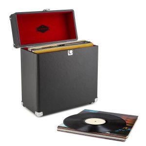 Auna TTS6 Coffret à vinyles style rétro en cuir rangement 30 disques noir