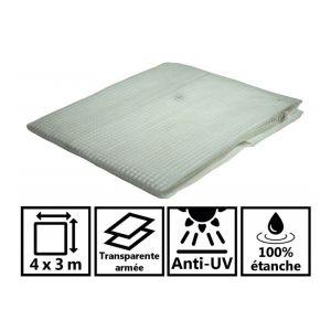 Toile de toit pour tonnelle et pergola 170g/m² transparente 4x3 m