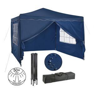 Arebos Pavillon Pliable - Tente de réception Pop-up - Chapiteau Pavillon de 3x3 m avec parois latérales - Rouge, Vert, Bleu, Anthracite