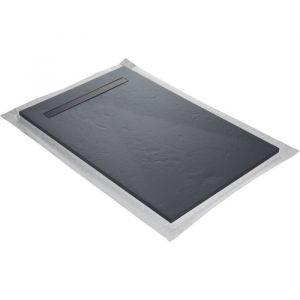 Receveur de douc résine gris ardoise imitation ardoise 120 x 90 cm avec grille caniveau inox coloris blanc, natte étanc pré montée et siphon ultra plat U TILE