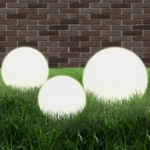 VidaXL Jeu de lampe boule à LED 3 pcs PMMA sphérique 20/30/40 cm