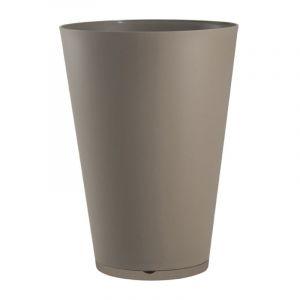 Grosfillex Pot de fleur design Tokyo 30 Diam.30 H.43 - Taupe - Extérieur - Soucoupe amovible intégrée