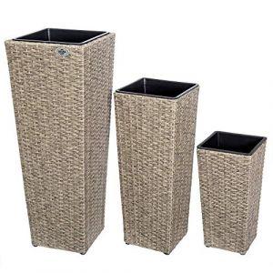 Deuba Set de 3 Pots de Fleurs bac à Fleurs crème polyrotin Pot intérieur Amovible Design élégant résistant aux intempéries et UV intérieur et extérieur