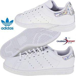 Adidas Stan Smith J, Chaussures de Gymnastique Mixte Enfant, Blanc FTWR White/Core Black, 36 2/3 EU