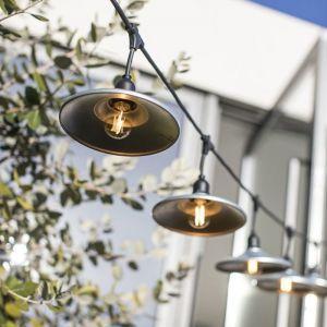Lumisky Guirlande lumineuse extérieur avec abat-jour en acier style industriel 10 ampoules à filament douille E27 LED blanc chaud BOWL