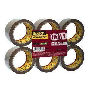 Scotch HV5066FB - Lot de 6 rubans adhésifs d'emballage Heavy, havane, 50mm x 66m, ép. 56µ (BP975)