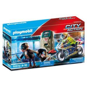 Playmobil Police policier avec moto et voleur City Action 70572