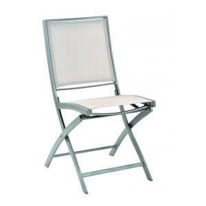 Chaise pliante KENEAH muscade / toile de lin