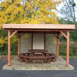Habrita Auvent OMBRA toit plat avec ventelles mobiles sur 1 côté