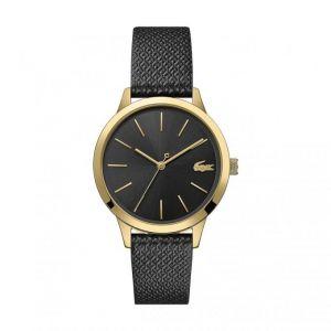 Lacoste Montre 2001090 - boitier acier plaqué ionique or jaune rond cadran noir bracelet cuir noir Femme