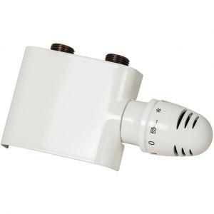 Schulte-ufer Robinet + tête thermostatique équerre, pour raccordement central, blanc, pour radiateur à eau chaude - Schulte