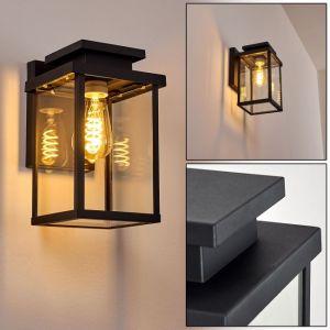 Hofstein Applique d'extérieur Tieva en métal noir & verre, applique murale cubique créant un élégant jeu de lumière au mur, lanterne pour 1 ampoule E27 max. 60 Watt, compatible ampoules LED