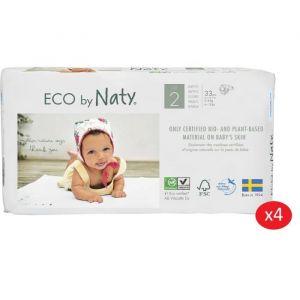 Eco by Naty Lot de 4 paquets de couches Taille 2 Mini 3-6 kg 33 pcs
