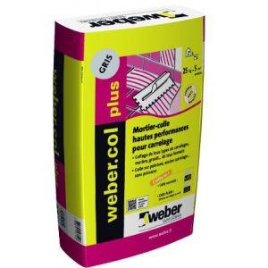 Weber Mortier-colle amélioré à double consistance pour carrelage (C2 ET/EG).COL PLUS gris - Sac 25kg