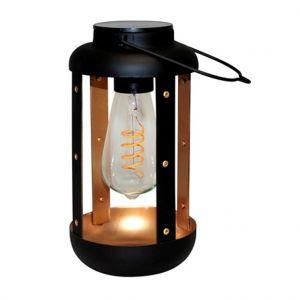 Watt & Home Lanterne solaire en métal noir à LED blanc chaud 40 lumens H 25 cm