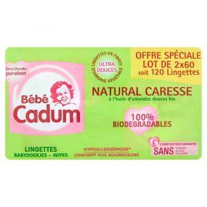 Bébé Cadum Lingettes Natural Caresse Lot de 2 x 60