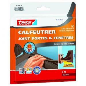 Tesa Bourrelet caoutchouc profil E 9 mm x 6 m brun Joint, Bourrelet, Toile de verre