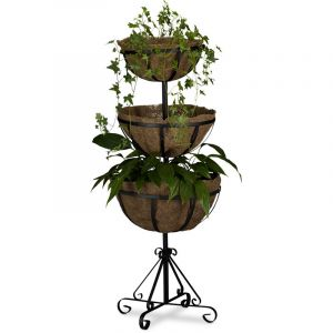 Relaxdays Support pour plantes 3 étages HxlxP: 103 x 40 x 40 cm, marron