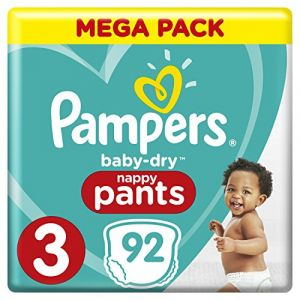 Pampers Baby Dry Pants - Couches-culottes Taille 3 (6-11 kg) - Mega Pack (x92 culottes)