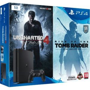 Sony Console PS4 1 To Slim + Uncharted 4 + Rise of the Tomb Raider