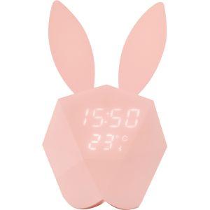 Mob Réveil Lapin Intelligent Cutty Clock | Rose Pastel - Détecteur de Son et Mouvement | Design et innovant | Veilleus | Nomade