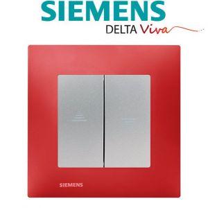 Siemens Interrupteur Volet Roulant Silver Delta Viva + Plaque Rouge