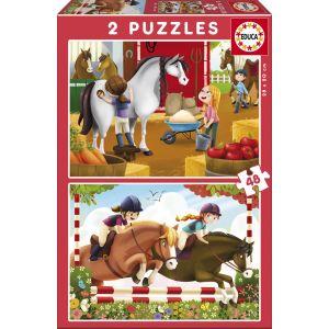 Educa Les chevaux - Puzzle 2 x 48 pièces