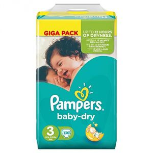 Pampers Baby Dry taille 3 Midi 4-9 kg - 136 couches